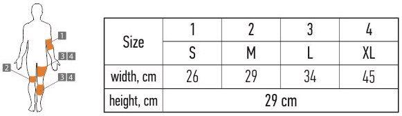ELAST 9605 dydžių lentelė