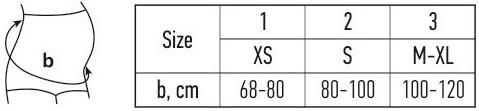 Diržas dydžių lentelė
