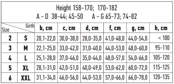 Kojinės dydžių lentelė
